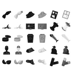 garbage and waste blackmonochrome icons in set vector image