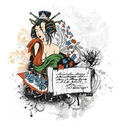 Geisha with scroll vector