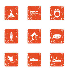 German show icons set grunge style vector