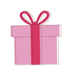 Gift box wrapped ribbon bow decoration vector