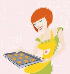 Girl makes cake vector