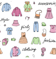 girls clothes and lettering doodle seamless vector image