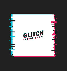 glitched square frame distorted glitch style vector image