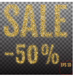 gold sale 50 percent golden sale 50 percent on vector image
