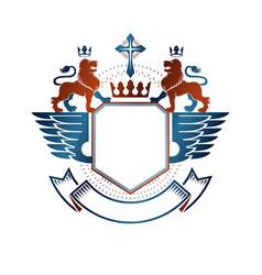 Graphic emblem with lion heraldic animal element vector