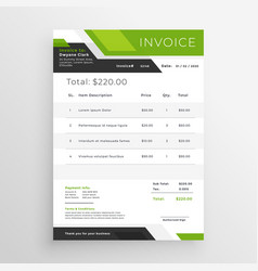 green business invoice template design vector image