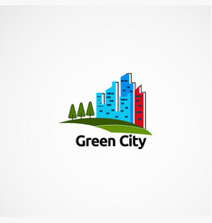 green skyline logo designs concept icon element vector image
