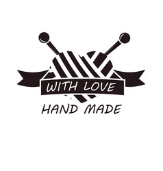 hand made with love logotype design thread and vector image