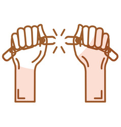 hands human with chain break vector image