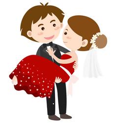 happy bride and groom vector image