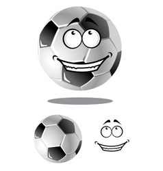 Happy cartoon soccer or football ball vector image