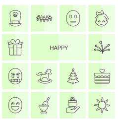 happy icons vector image