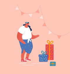 happy woman stand near wrapped gift boxes in vector image