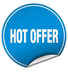 Hot offer round blue sticker isolated on white vector
