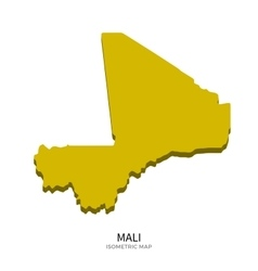 Isometric map of Mali detailed vector image