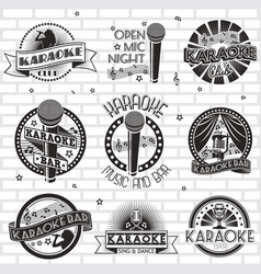 karaoke label emblem badge logo set vector image