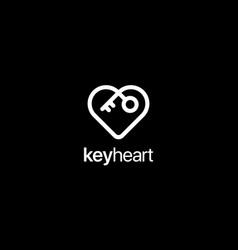 key heart logo design concept vector image