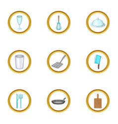 Kitchen tools icons set cartoon style vector