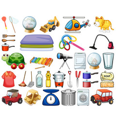 Large set household items and many toys on vector
