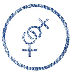 Lesbian love symbol rounded fabric textured icon vector