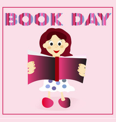 little child cute girl is reading happy book day vector image