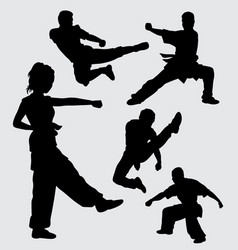 martial art pose male and female sport silhouette vector image