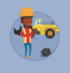 miner with a big excavator on background vector image