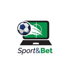monitor screen computer with football sports logo vector image