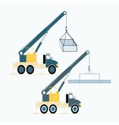 monochrome icon set with loading crane vector image