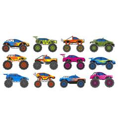 monster heavy trucks extreme race large wheels vector image