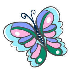 multicolor butterfly on white background vector image