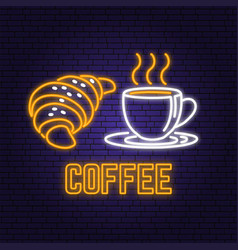 neon coffee and croissant retro sign on brick wall vector image