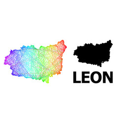Net map leon province with rainbow colored vector