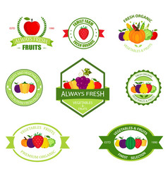 organic farming products labels emblems vector image