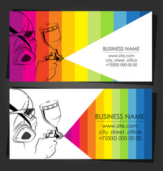 Painter with a spray gun in hand business card vector