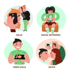 people with smartphones design concept vector image