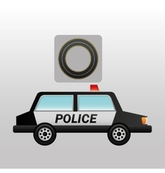 Police car side circle road way design vector