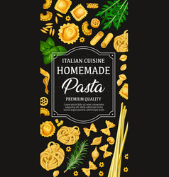 Poster of homemade pasta of italian cuisine vector