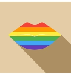 Rainbow lips icon in flat style vector image