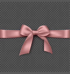 realistic pink bow and ribbon vector image