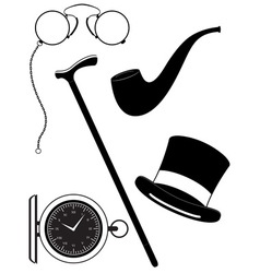 retro mens accessories 19th century black and vector image