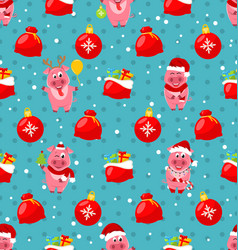 seamless pattern with cartton pigs christmas bag vector image