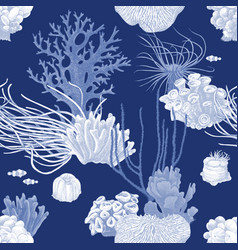 seamless pattern with hand drawn coral reef vector image