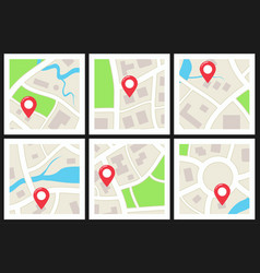 set city maps vector image