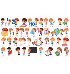 set mathematics kids vector image