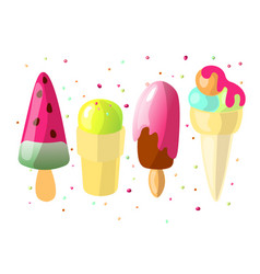 set of cute cartoon colored ice cream collection vector image