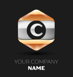 Silver letter c logo in silver-golden hexagonal vector