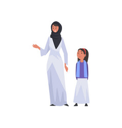 smiling mother and her daughter happy arab family vector image