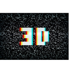 Stereo effect 3D text on noisy tv screen vector image