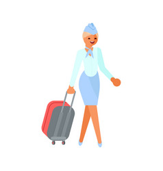 Stewardess character with suitcase vector
